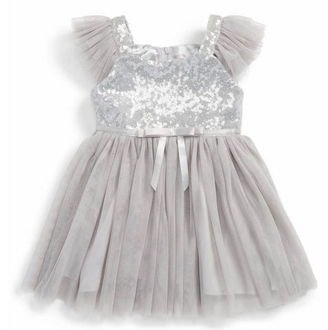 Popatu Baby Girls Silver Sequin Tulle Dress - Popatu pageant and easter petti dress