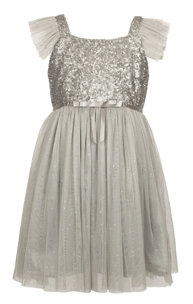 Popatu Little Girls Silver Sequin Tulle Dress - Popatu pageant and easter petti dress