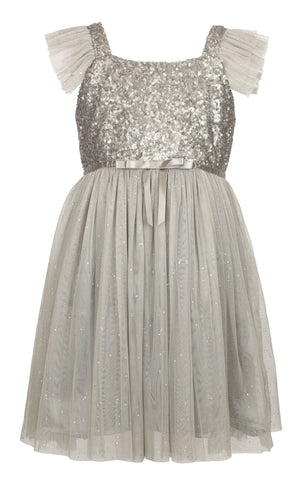 Popatu Little Girls Silver Sequin Tulle Dress - Popatu