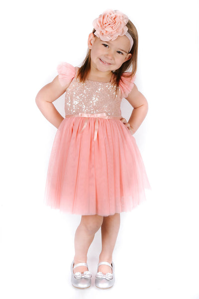 48a10fe9 Popatu Little Girls Peach Gold Sequin Tulle Dress