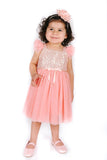 Popatu Baby Girls Coral Sequin Tulle Dress - Popatu pageant and easter petti dress
