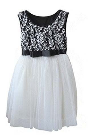 Popatu Little Girl's Black & White Tulle Dress - Popatu pageant and easter petti dress