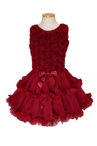 Popatu Little Girls Burgundy Rose Soutache Ruffle Dress - Popatu pageant and easter petti dress