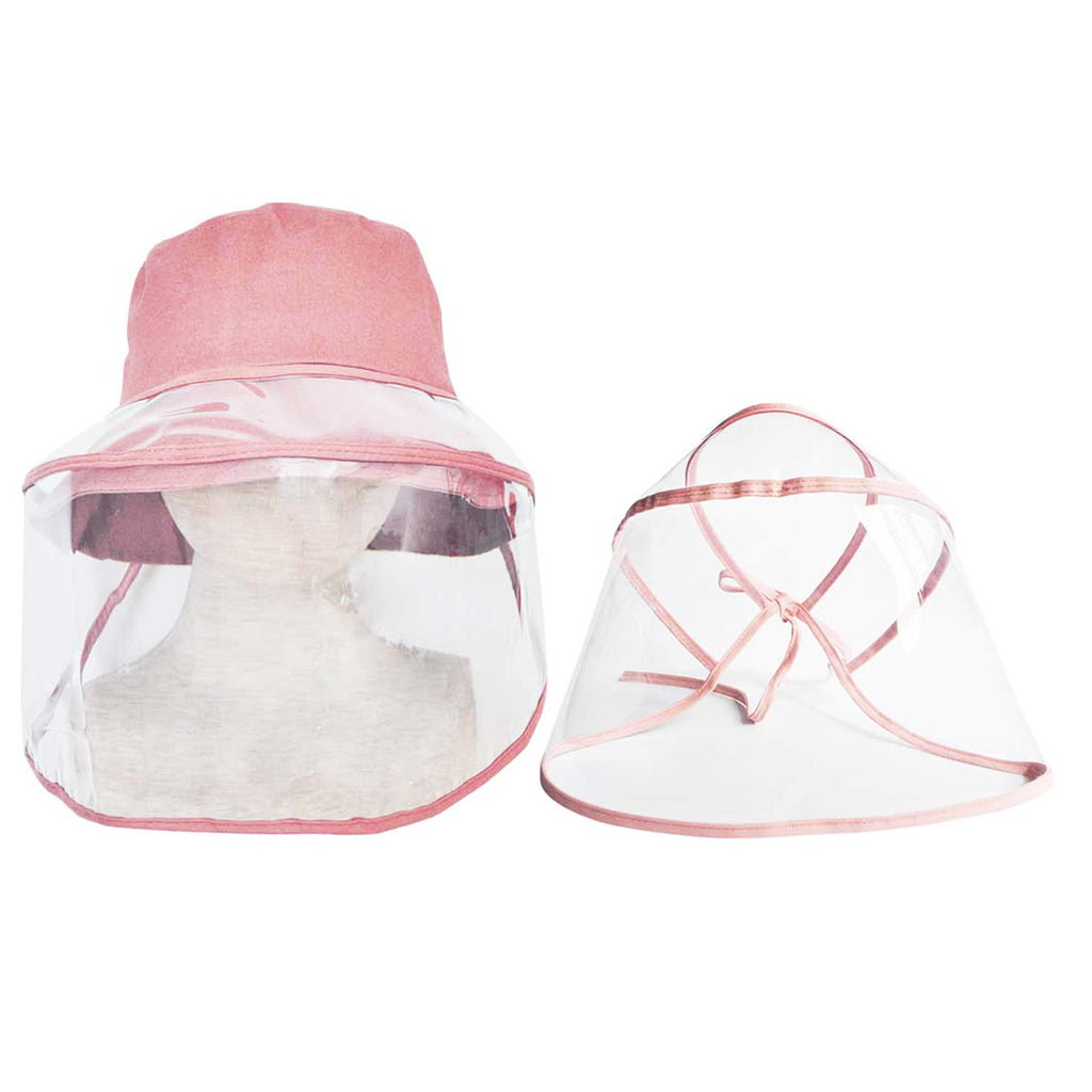 Adult Dusty Pink Hat with Protective Face Shield - Popatu pageant and easter petti dress
