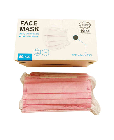 Disposable Protective Mask (Made in Taiwan)-50pcs/box-Pink (Adult/Child)