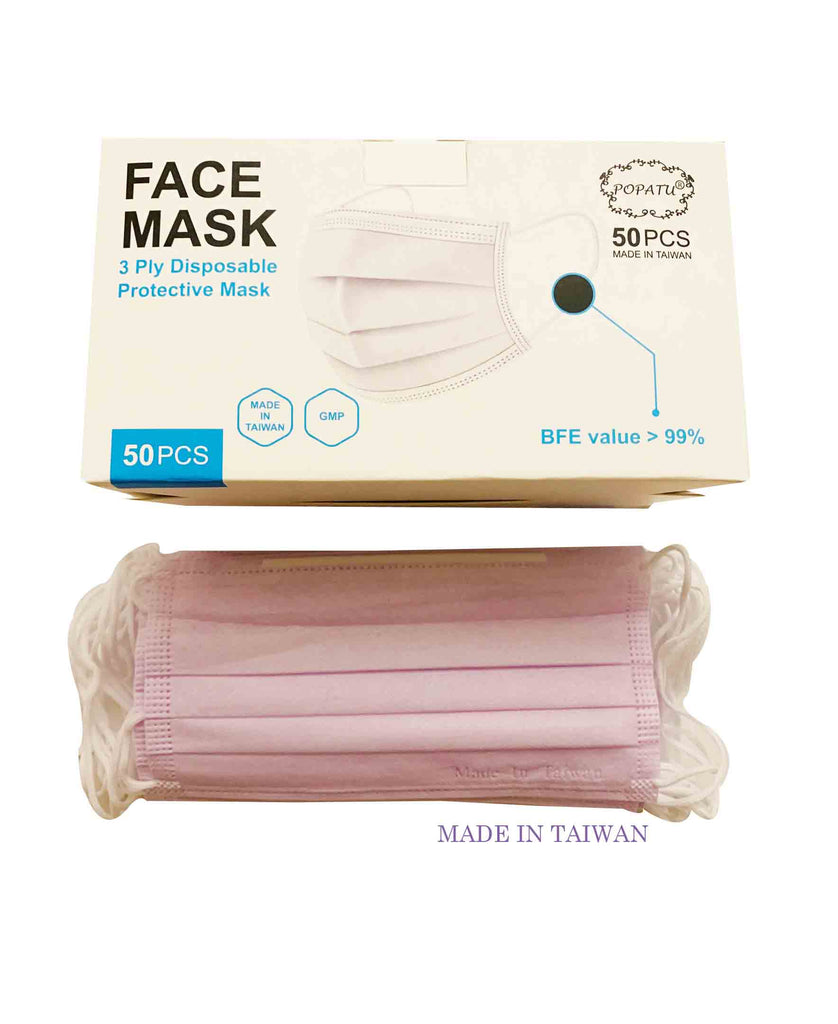 Made in Taiwan, 3-ply Face Masks [50 pcs] -Adult