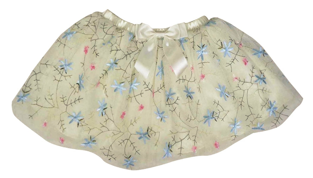 Little Girls White Multi-Floral Tutu Skirt - Popatu