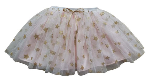 Popatu Little Girls Rose Gold Star Tutu Skirt - Popatu pageant and easter petti dress