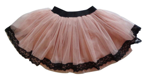 Popatu Little Girls Dusty Pink Lace Tutu Skirt - Popatu pageant and easter petti dress