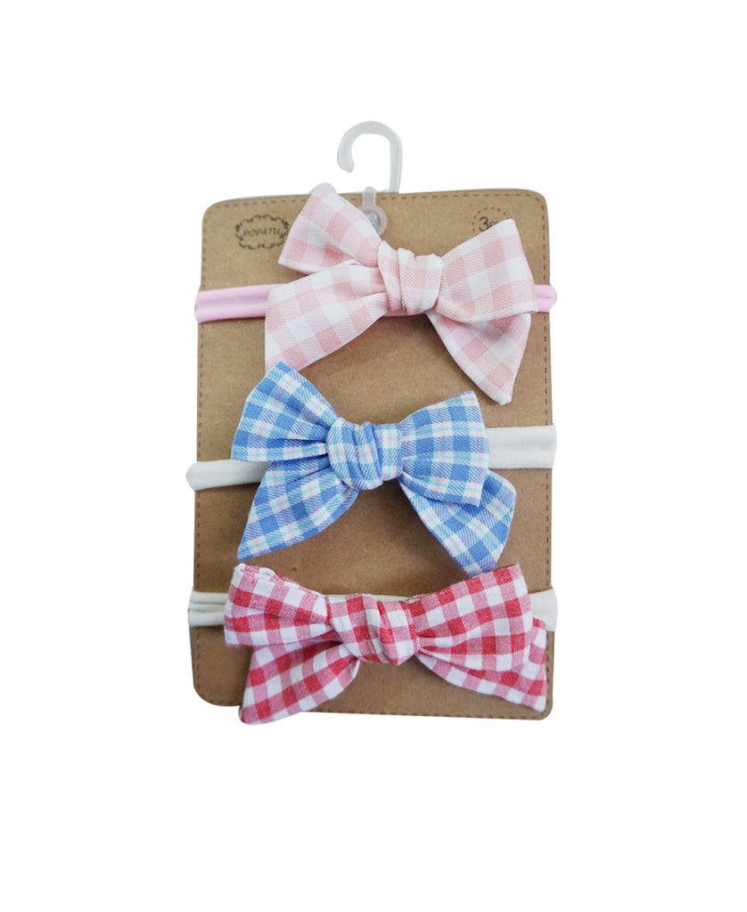 Girls Headbands Gingham Bow Set of 3