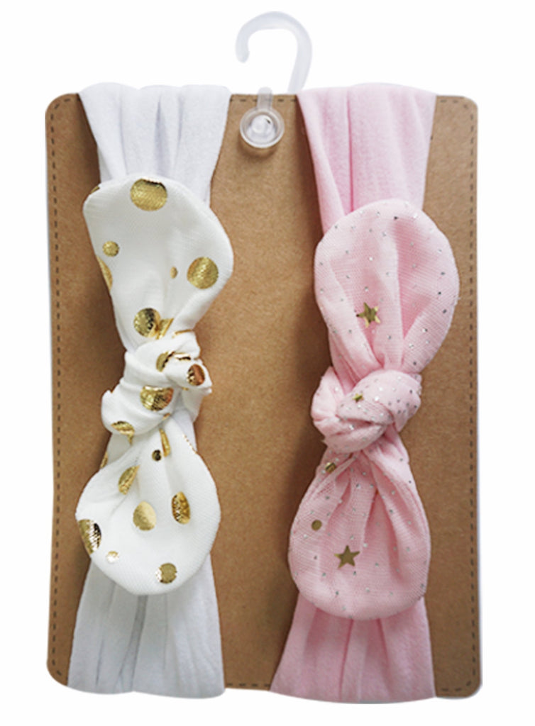Baby Girl's Gold Polka Dot Bow Headband (Set of 2pcs)