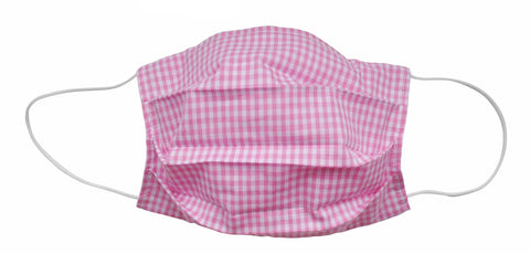 Popatu Pink Checkered Fabric Face Mask (Adult/Child Sizes) - Popatu pageant and easter petti dress