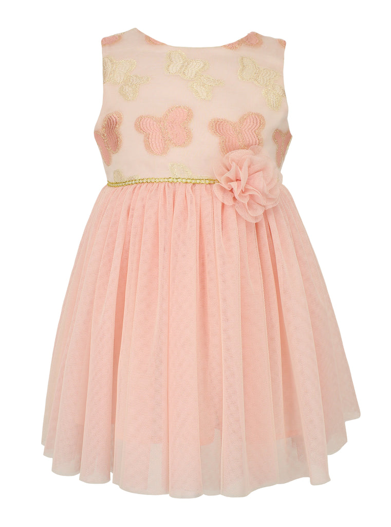 Popatu Little Girls Peach Butterfly Embellished Tulle Dress