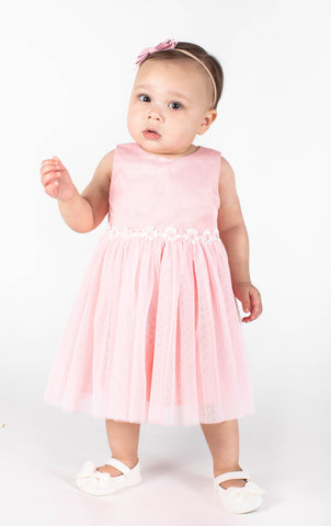 Popatu Baby Girls Pink Daisy Applique Tulle Dress