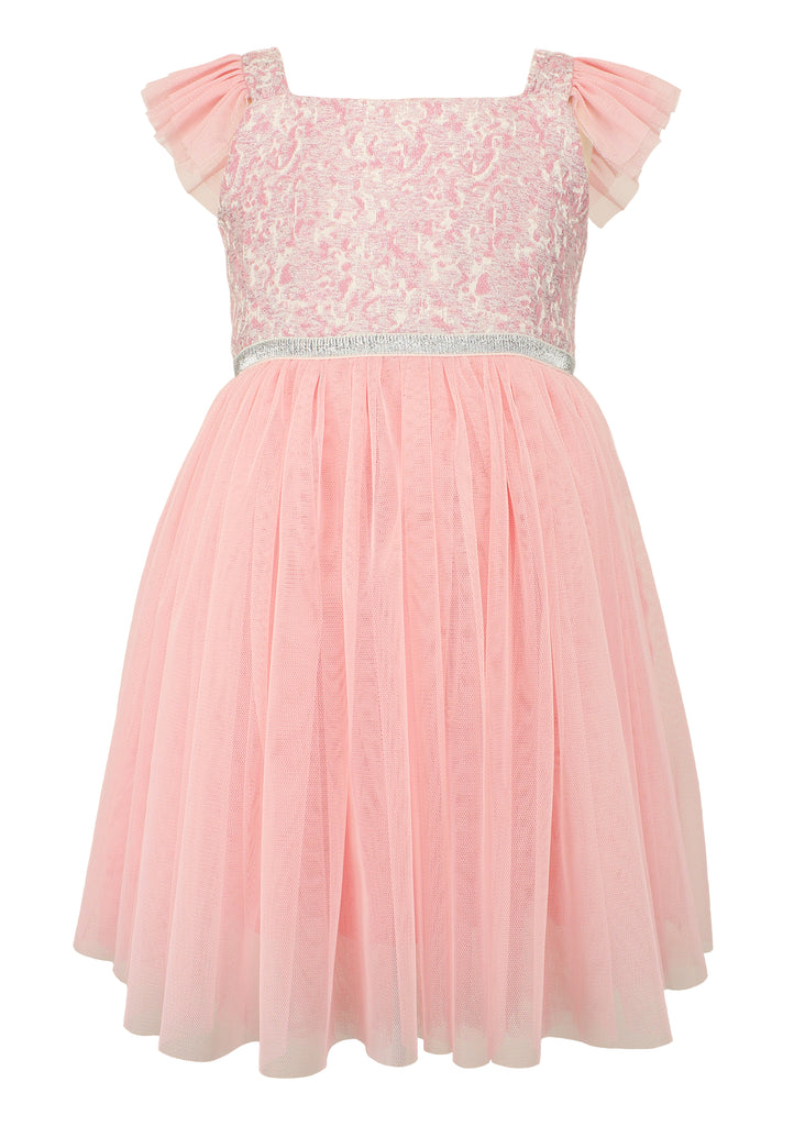 Popatu Little Girls Pink Brocade Flutter Sleeve Dress