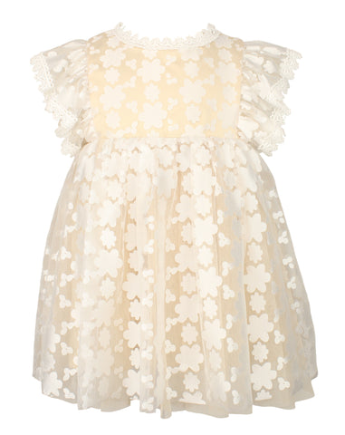Popatu Little Girls Champagne Flower Lace Pinafore Dress