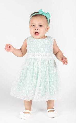 Popatu Baby Girls Mint Green Floral Lace Tulle Dress