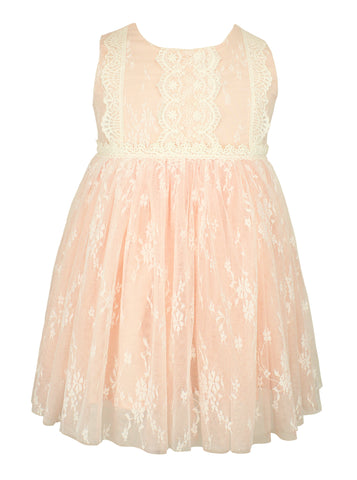 Popatu Little Girls Peach Floral Lace Dress