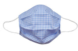 Blue Checkered Fabric Face Mask (Adult/Child Sizes) - Popatu pageant and easter petti dress