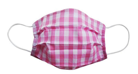 Pink Checkered Fabric Face Mask (Adult/Child Sizes) - Popatu pageant and easter petti dress