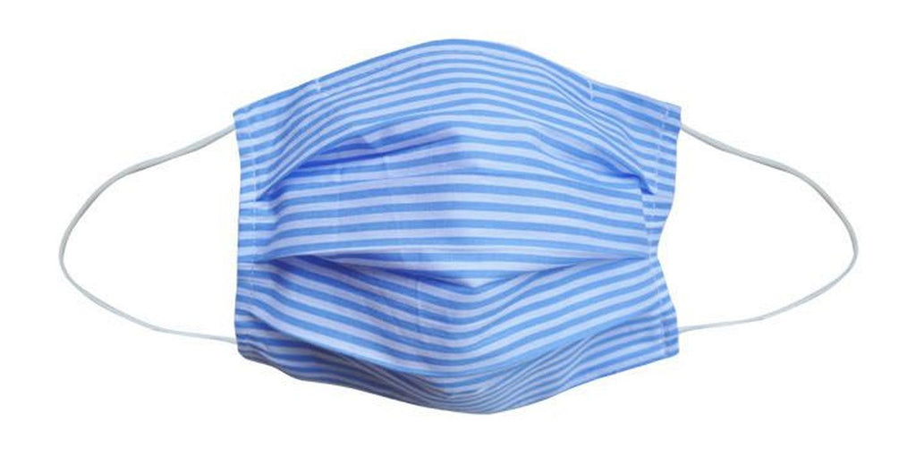 Adult- Blue Stripe Fabric Face Mask - Popatu pageant and easter petti dress