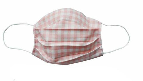 Peach Checkered Fabric Face Mask (Adult/Child Sizes) - Popatu pageant and easter petti dress