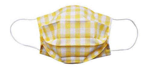 Adult- Yellow Checker Fabric Face Mask - Popatu pageant and easter petti dress