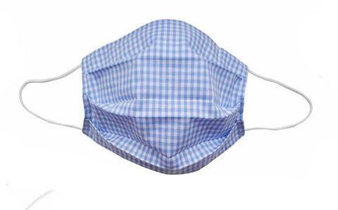 Blue Checkered Fabric Face Mask- Adult & Child - Popatu pageant and easter petti dress