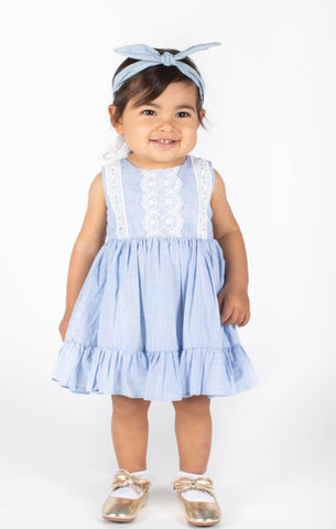 Popatu Baby Girls Light Blue Stripe Prarie Dress with Lace Embellishments