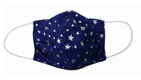 Navy Stars Fabric Face Mask (Adult/Child) - Popatu pageant and easter petti dress