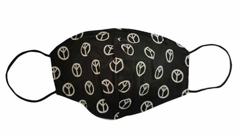 Black/White Peace Fabric Face Mask (Adult)