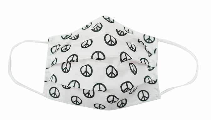 White/Black Peace Fabric Face Mask (Adult/Child) - Popatu pageant and easter petti dress