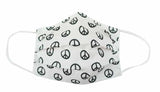 Adult-White/Black Peace Fabric Face Mask