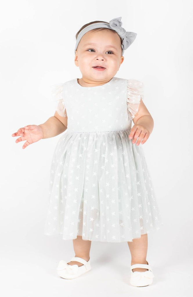 Popatu Baby Girls Sage Green Stars Tulle Dress
