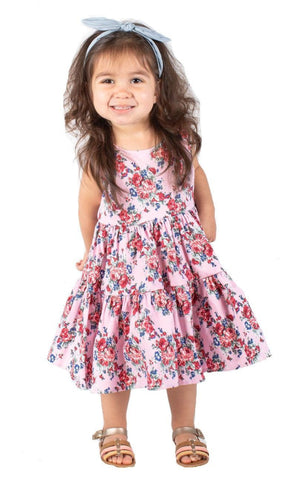 Popatu Baby Girls Pink Floral Dress