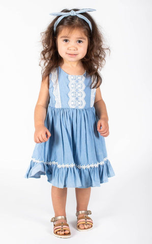 Baby Girls Chambray Lace Dress