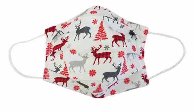 Christmas Deer/Tree Fabric Face Mask (Adult)