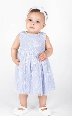Popatu Baby Girls Light Blue Floral Lace Overlay Dress