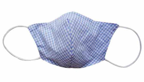 Blue Checker Fabric Face Mask (Adult)