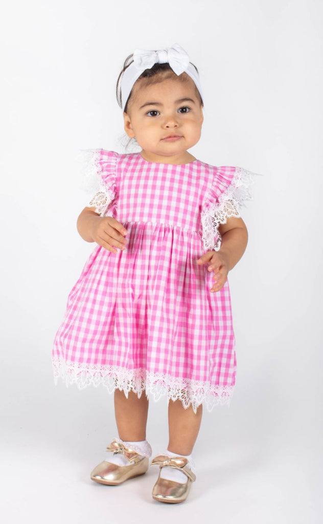 Popatu Baby Girls Pink Gingham Pinafore Dress