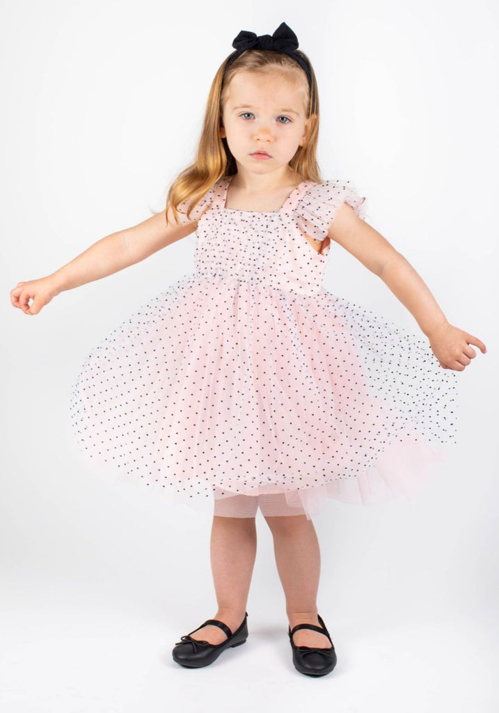 Popatu Baby Girls Light Peach Swiss Dot Tulle Dress