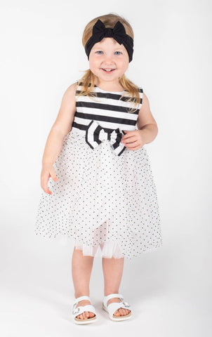 Popatu Baby Girls Black and White Stripe Big Bow Tulle Dres