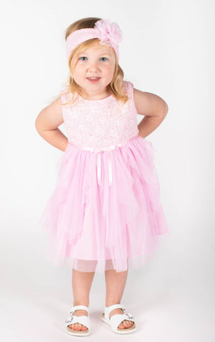 Popatu Baby Girls Pink Tiered Tulle Dress