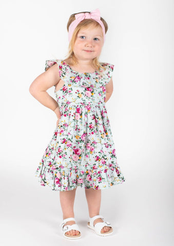 Popatu Baby Girls Mint Green Floral Spring Dress