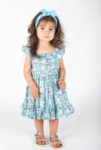 Popatu Baby Girls Light Blue Floral Spring Dress