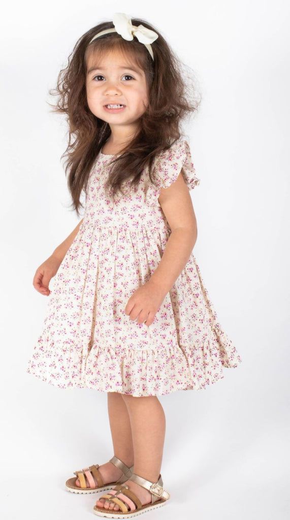 Popatu Baby Girls Beige Flower Pattern Flutter Dress