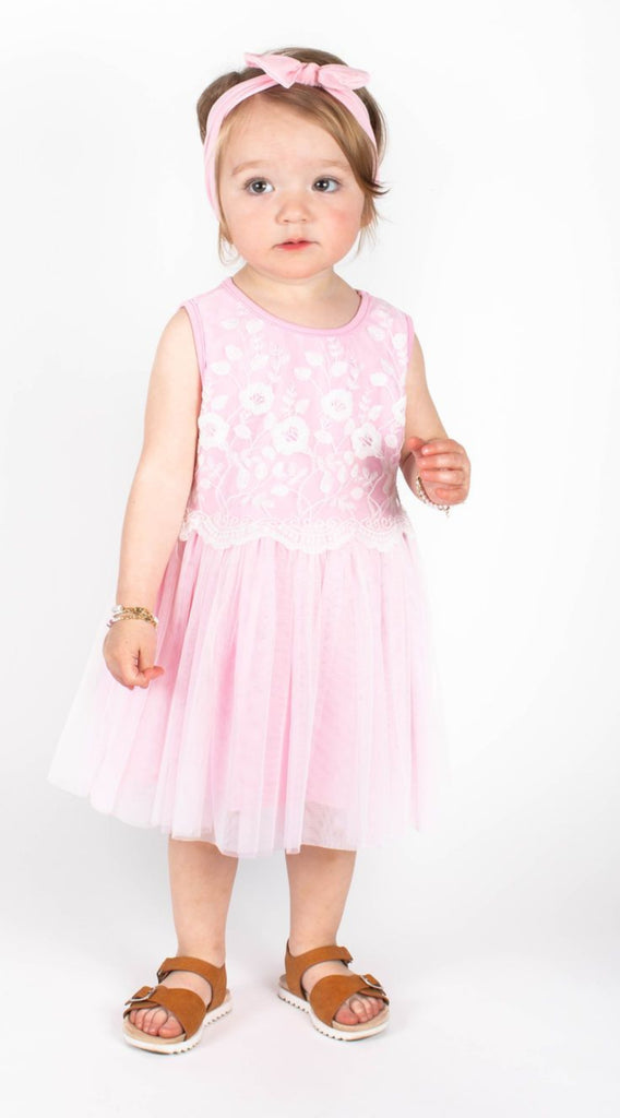 Popatu Baby Girls Pink Lace Flower Embroidered Tulle Dress