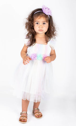Popatu Baby Girls Rainbow Tulle Dress