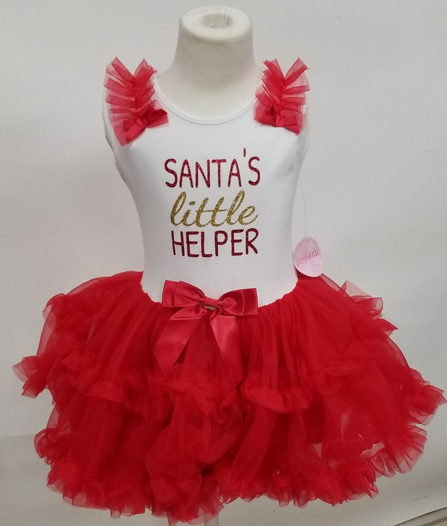 Popatu Santa's Little Helper Red and White Ruffle Dress, ship Nov. 15, 2018 - Popatu pageant and easter petti dress