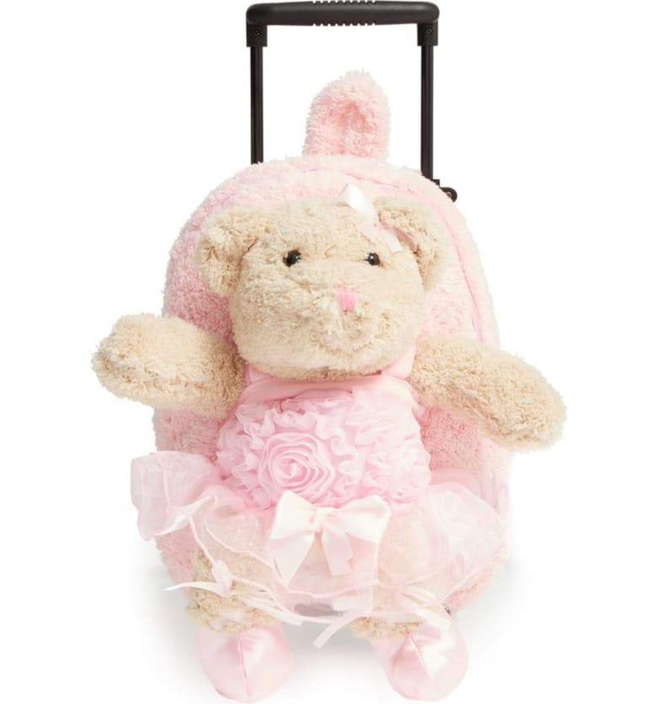 Popatu Pink Rolling Backpack with Brown Ballerina Bear - Popatu pageant and easter petti dress